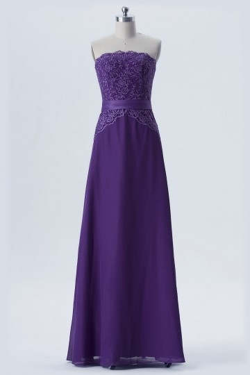 robe de soirée violette longue bustier dentelle recouverte
