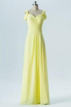 Robe longue jaune clair épaule découverte dos échancré