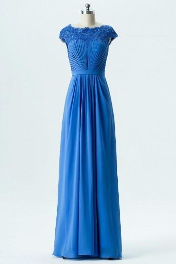 Robe soirée bleu longue encolure en dentelle