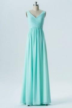 Robe de soirée verte turquoise longue décolleté en V plissé pour mariage