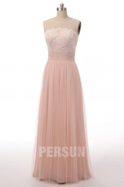 Romantic Dusty pink Full length Bridesmaid dress in Tulle with Lace bodice