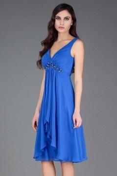 Robe cocktail mariage bleu empire col décolleté en V plongeant orné de strass