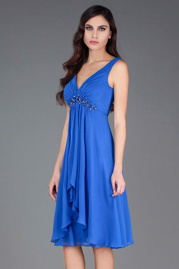 Robe cocktail mariage bleu empire col d collet en v for Robes de mariage empire uk