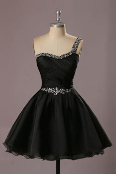 One Shoulder Beading Organza Black Short Mini Bridesmaid Dress