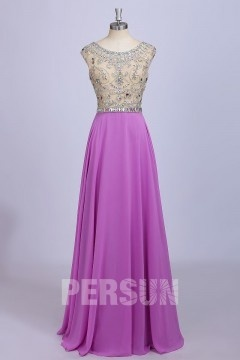 Elegant A Line Beading Floor Length Chiffon Purple Bridesmaid Dress
