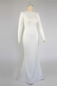 Robe de mariée cintrée style simple à manche longue