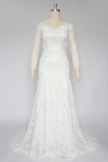 Elegant Spitze Ivory A-Linie V-Ausschnitt Brautkleider 2016 Persun