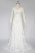 Chic Ivory A-Linie Spitze Brautkleider mit Ärmeln