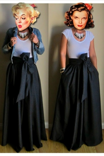 Dressesmall Elegant Black Satin Maxi Skirt With Bow