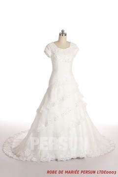 Modest Ruffles Lace Wedding Dress With Short Sleeves