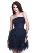 Chic Ruching Short Empire Blue Formal Dress Persun