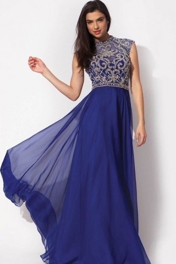 embroidery sleeveless blue prom gown