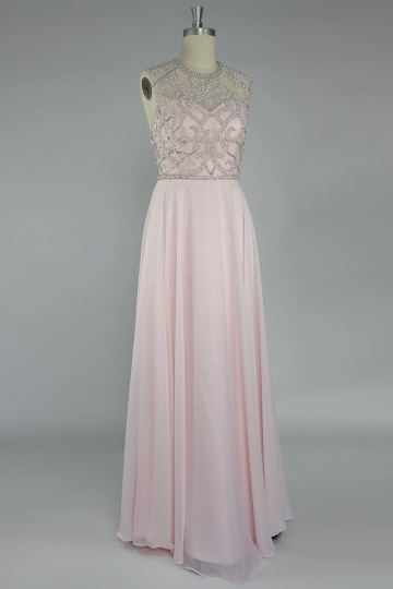 Dressesmall Beading Open Back Chiffon Long Formal Dress