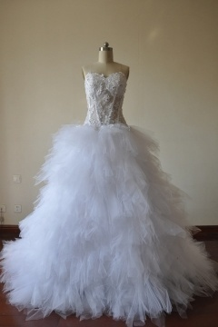 Beading Sheer Embroidery Tiers Tulle Bust Princess Wedding Dress
