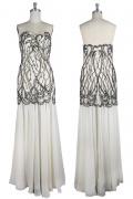 Sexy Robe de soirée sirène bustier coeur cousue de perles noires et rhinestones