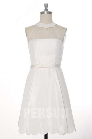 Simple Festoon Collar Short Silk Wedding Dress