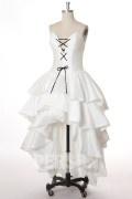 Sexy Herz-Ausschnitt A-Linie weiß vorne kurz hinten lang Brautkleid aus Taft