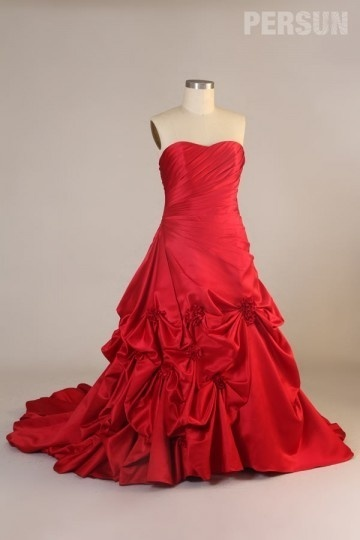 Luxus Herz Ausschnitt Rot Abendkleid Brautkleid für Mollige Persun