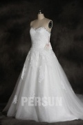 Vintage Strapless Tulle Lace Princess Wedding Dress