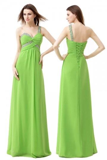 Robe verte vintage asymétrique bustier empire à paillettes
