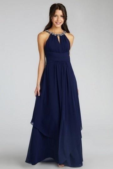 Robe soirée bleu nuit bustier plissée encolure ronde perlée