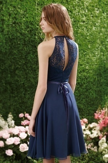 robe bleu marine col illusion en dentelle au genou pour cocktail mariage. Black Bedroom Furniture Sets. Home Design Ideas