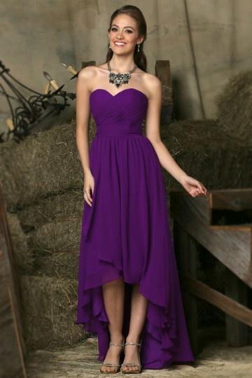 Robe de danse courte devant longue derrière violette bustier cœur