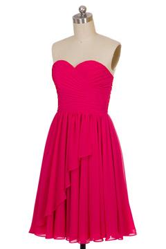 Petite robe fuchsia bustier coeur froncée