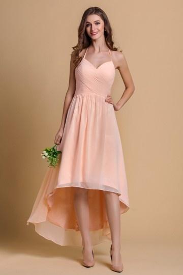 Robe cérémonie mariage rose style bascule pour demoiselle d'honneur