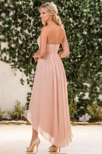 robe c r monie nude rose aux bretelles fines courte devant longue derri re. Black Bedroom Furniture Sets. Home Design Ideas
