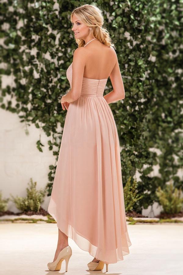 Robe cérémonie nude rose aux bretelles fines courte devant longue derrière