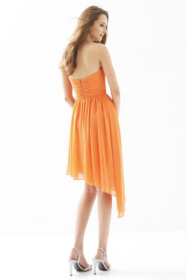 robe orange irrégulière mousseline pour mariage