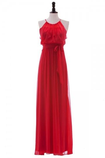 Robe rouge longue col halter chic en mousseline pour mariage