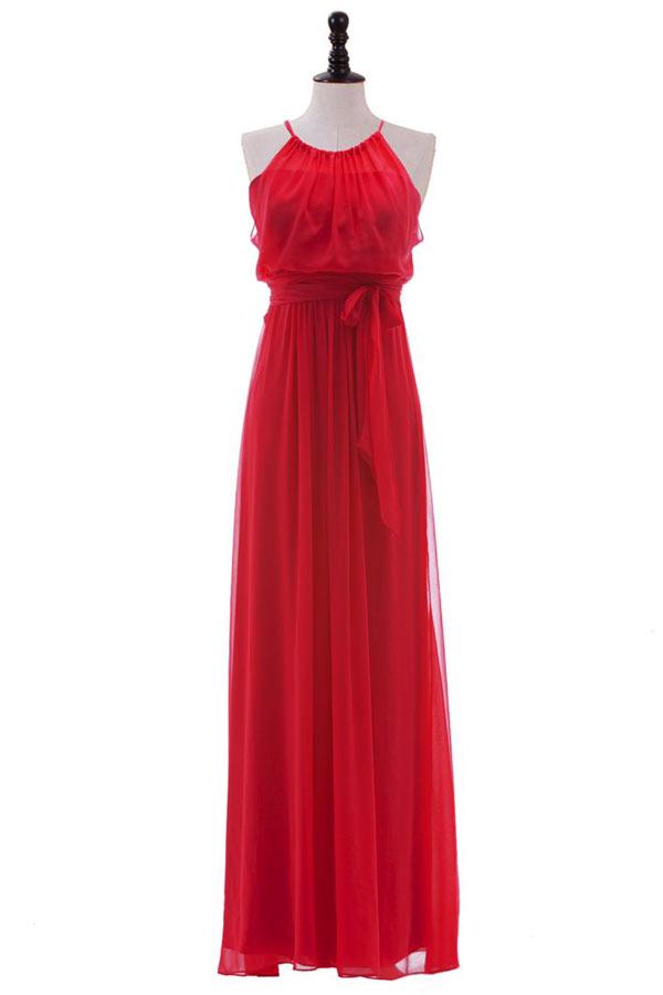 robe rouge de concert col halter chic en mousseline. Black Bedroom Furniture Sets. Home Design Ideas