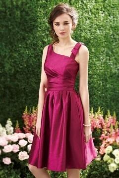 Robe de cocktail rose fuchsia asymétrique courte en taffetas