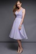 Lila V-Ausschnitt kurzen Chiffon-Kleid mit Falten