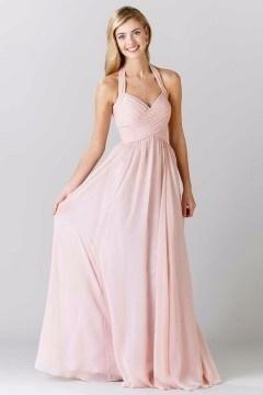 Magnifique robe rose pâle longue col halter pour demoiselle d'honneur