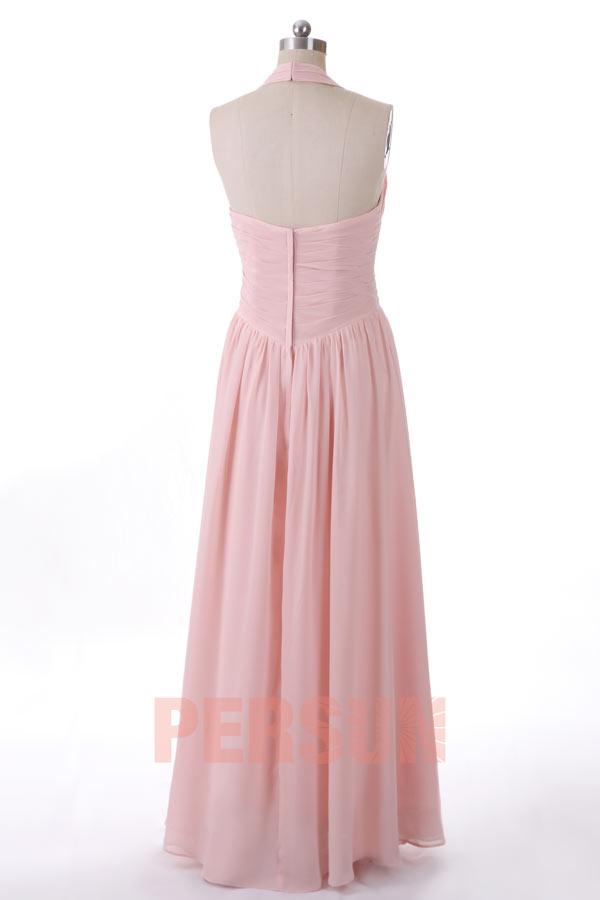 magnifique robe rose p le longue col halter pour demoiselle d 39 honneur. Black Bedroom Furniture Sets. Home Design Ideas