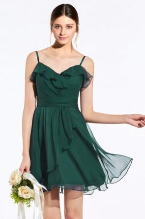 Robe courte vert haut à volants avec bretelles fines pour cocktail mariage