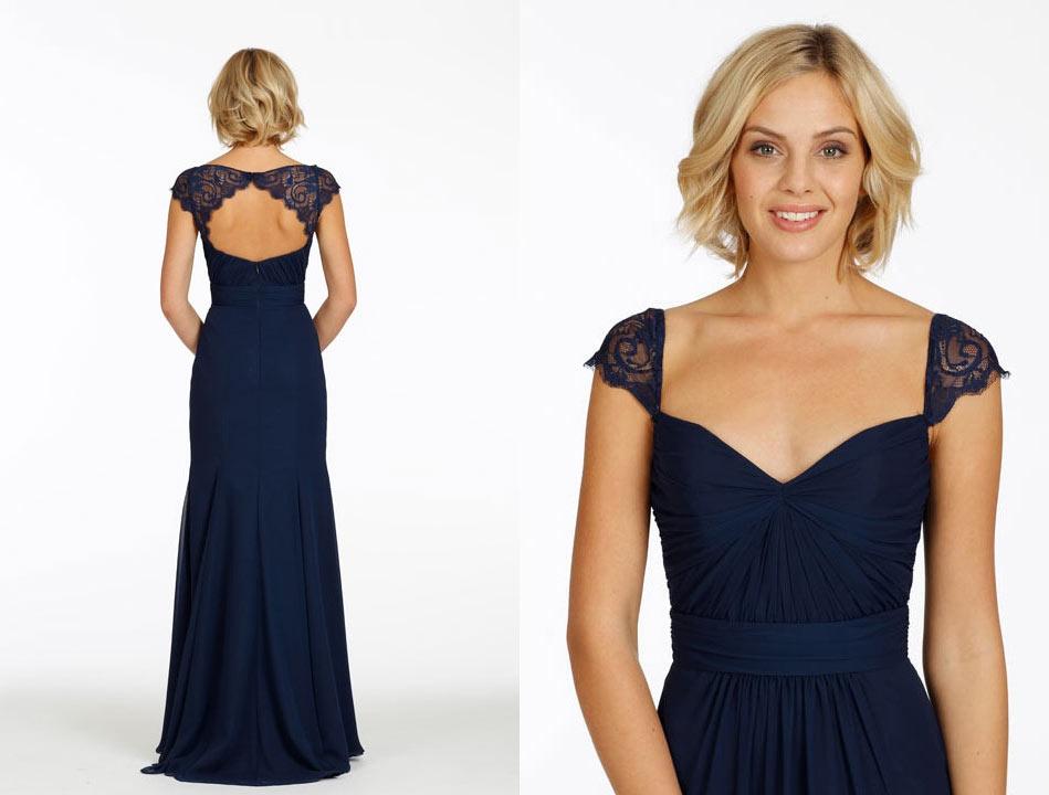 el gante robe bleu nuit dos d coup en dentelle avec mancherons pour mariage. Black Bedroom Furniture Sets. Home Design Ideas