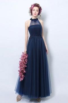 Robe cérémonie mariage bleu marine longue encolure illusion