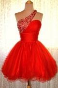 Asymmetrisches rotes kurzes mit Paillette Ballkleid aus Tüll