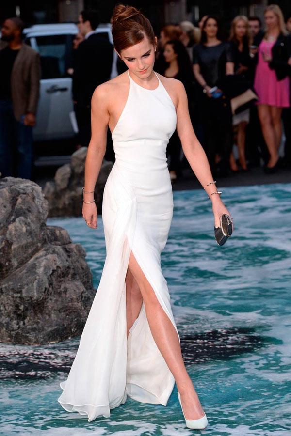 Promi weiß A-Linie Neckholder Emma lang Abendkleid aus Chiffon