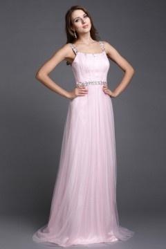 Robe de soirée rose longue pour mariage en tulle orné de paillettes