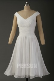 V-neck pleated White cocktail wedding dress with veils at back