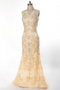 Gorgeous Champagne Mermaid Sequins High Neck Floor Length Evening Dress