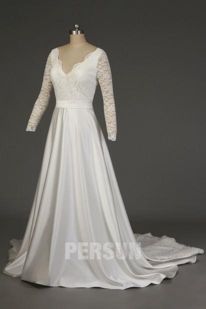 Elegant satin wedding dress V neck with long lace sleeves