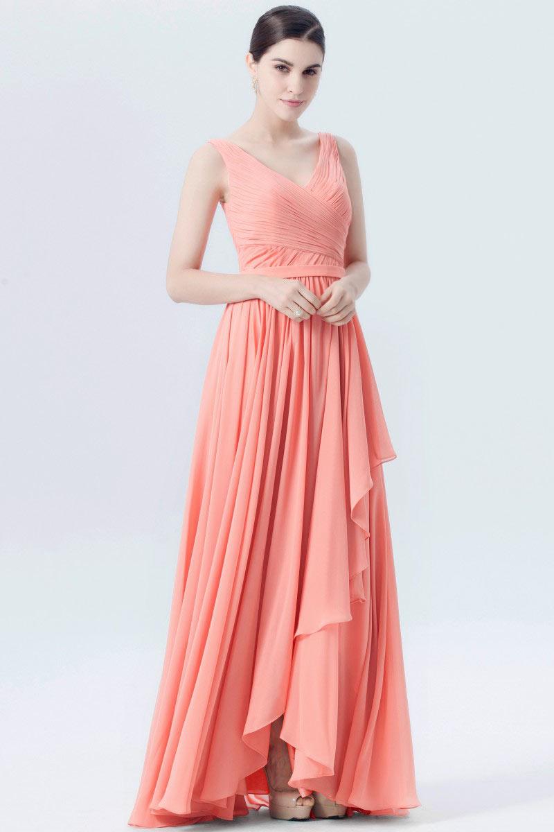 robe chic corail p le pliss e longue dos chancr en v pour soir e. Black Bedroom Furniture Sets. Home Design Ideas