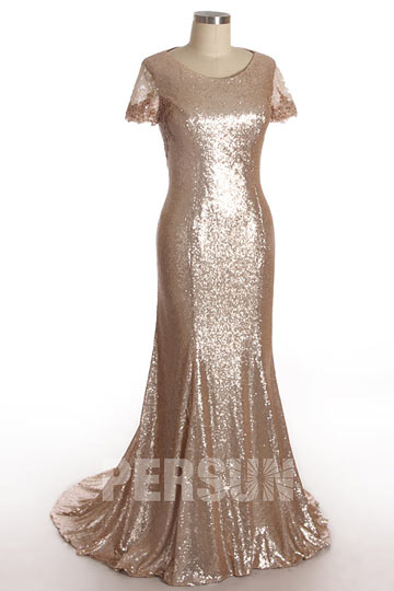 Chic Sequins Golden Long Evening Dress with Short Sleeves