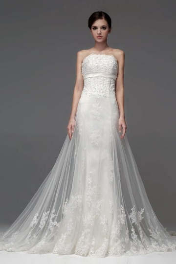 Strapless Beading Lace Applique Mermaid Long Wedding Dress